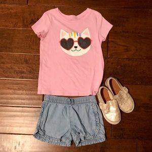 Cat & Jack Shirts & Tops - Cat & Jack Pink Cat Tee. Size 5T.